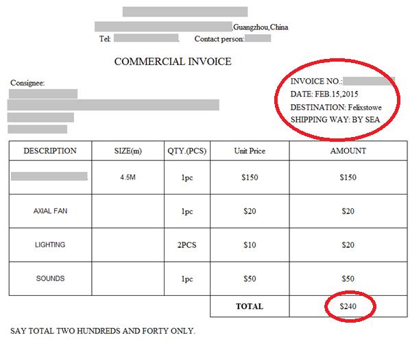 cif invoice sample