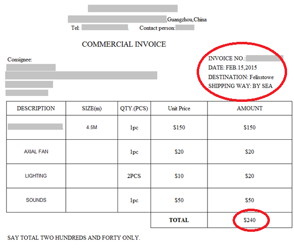 CIF CFR and the Hidden Costs - Example CIF Invoice - Shippo