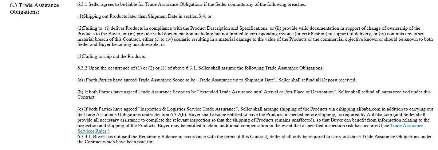Seller Obligations Trade Assurance Alibaba Contract