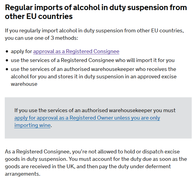 Importing alcohol requirements