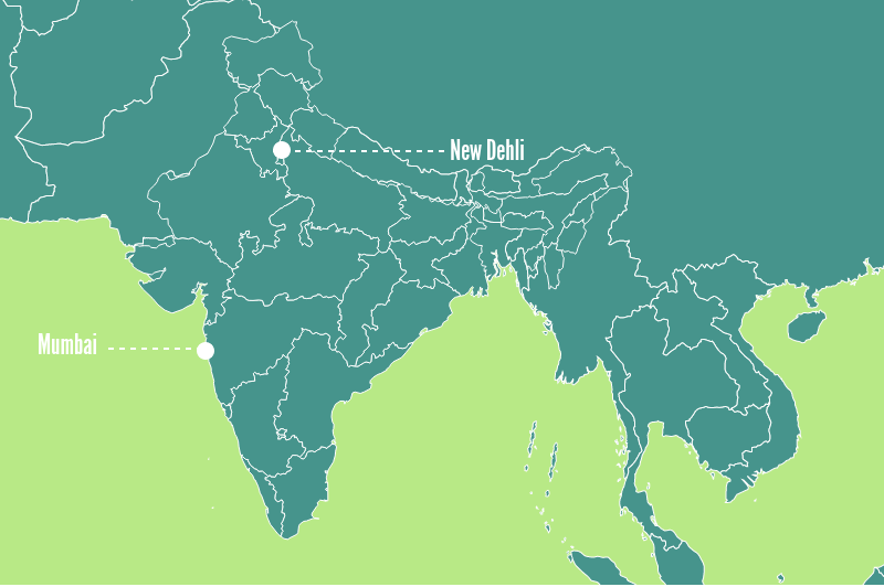 Port Of New Dehli & Port Of Mumbai On A Map; New Dehli Port is Landlocked and Therefore It Costs More To Ship From New Dehli